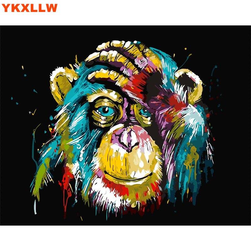Búho gato León gorila Diy pintura al óleo por números resumen ...