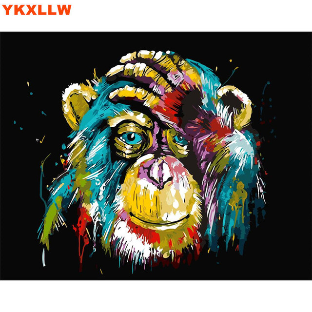 Owl Cat Lion Gorilla Diy Oil Painting By Numbers Abstract