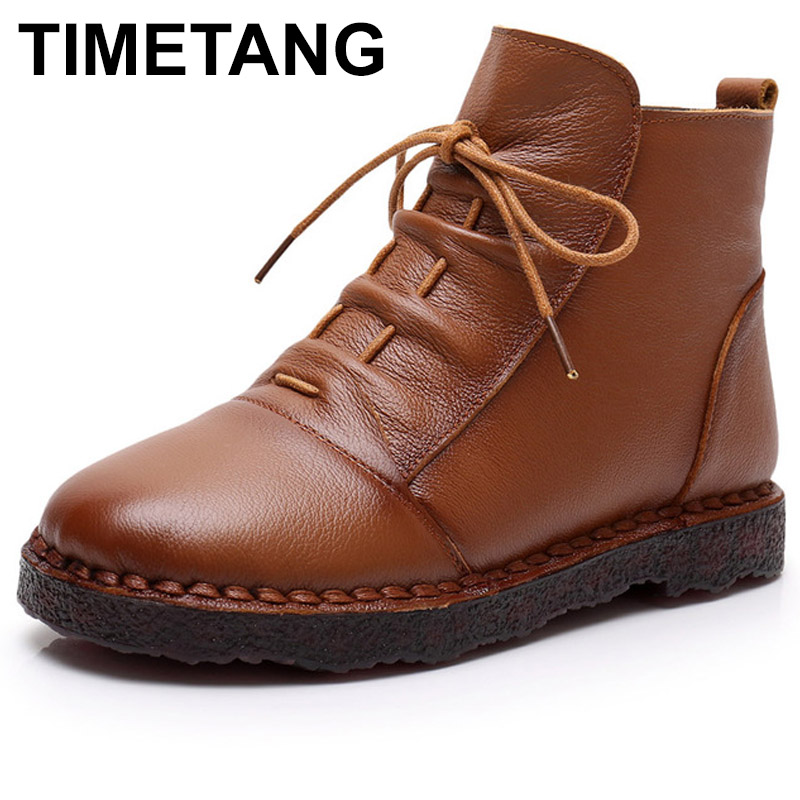 TIMETANGNew women Genuine Leather Boots Vintage Style Flat Booties Soft Cowhide Women's Shoes Warm Fur Ankle Boots Female Winter maylosa 2017 vintage style genuine leather women boots flat booties soft cowhide women s shoes zip ankle boots warm winter shoe