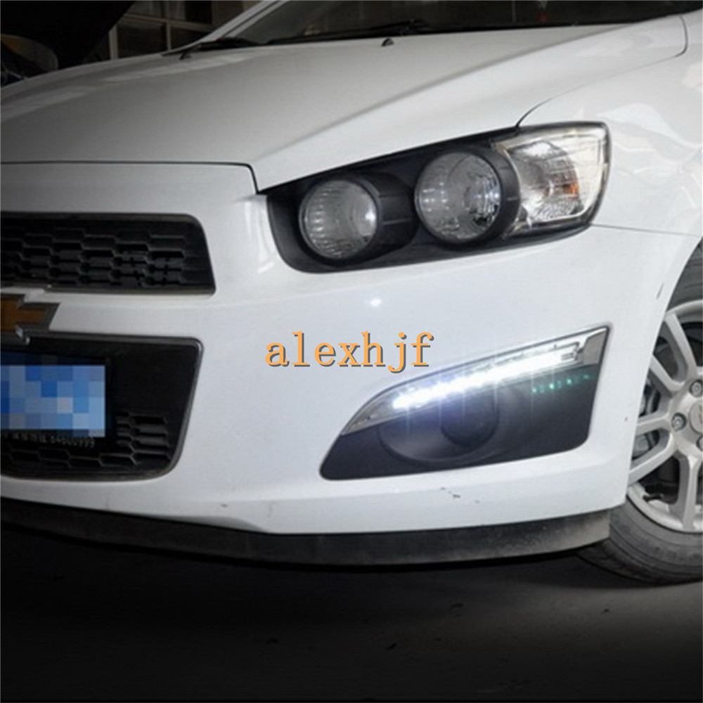 July King LED Daytime Running Lights DRL with Fog Lamp Cover case for Chevrolet Aveo Sonic 2011~15, 1:1 Replace, Free shipping july king led daytime running lights drl with fog lamp cover led fog lamp case for lander rover freelander ii 2011 13 1 1