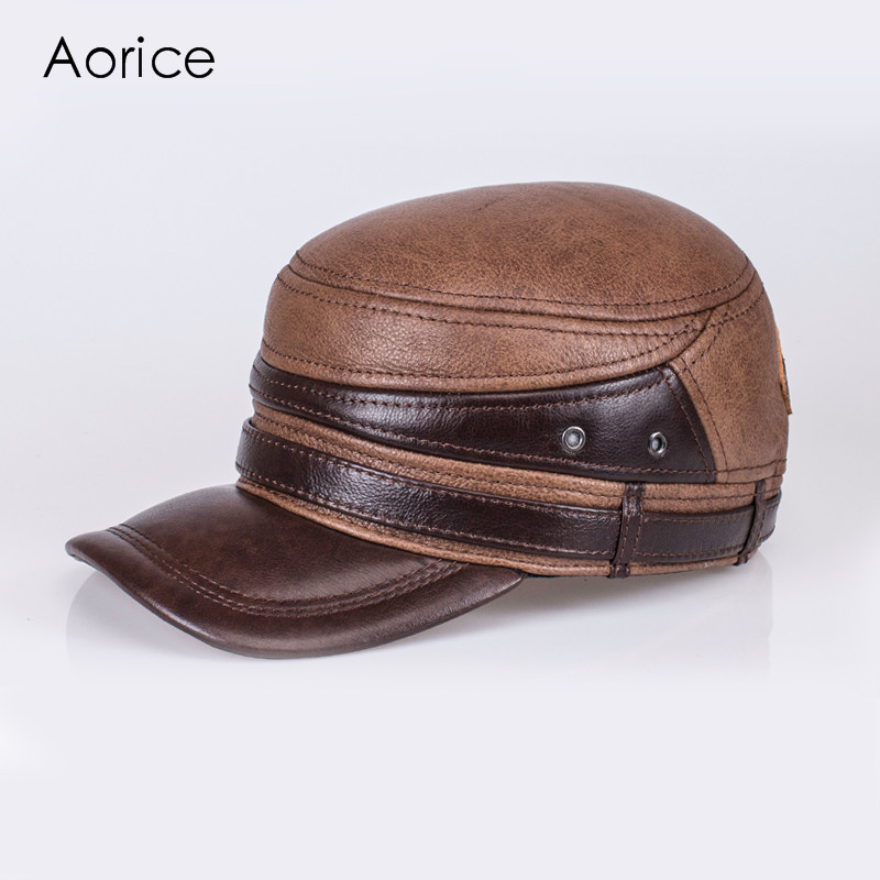 Aorice Genuine Leather Winter Men Baseball Cap Hat CBD High Quality Men's Real Leather Adult Solid Adjustable Hats Caps HL103 skullies beanies newborn cute winter kids baby hats knitted pom pom hat wool hemming hat drop shipping high quality s30