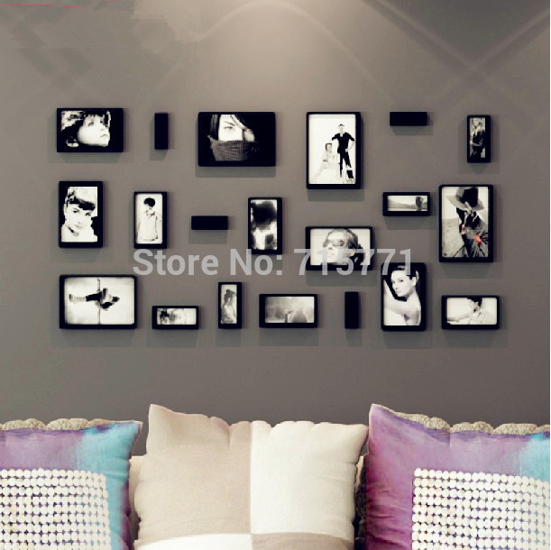 Buy 10 pcs set new 3d wooden photo frame home decoration removable wall sticker Home decoration photo frames