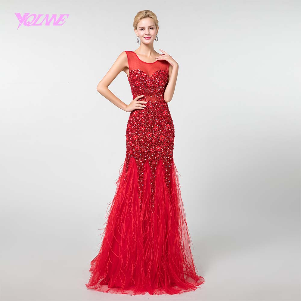 YQLNNE New 2018 Red Crystals Feathers   Prom     Dresses   Long Mermaid   Dress   Vestido de Festa