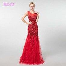 YQLNNE nowy 2018 czerwone kryształy pióra suknie balowe długa sukienka syrenka Vestido de Festa