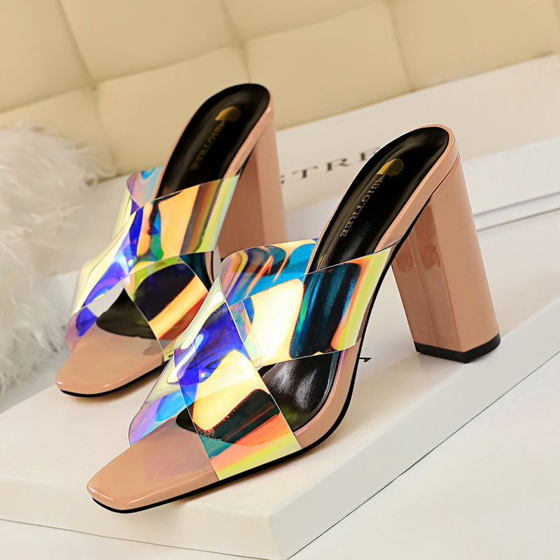 High heeled women slippers 2019 new fashion patent leather thick with square head hollow reflective cross slip woman shoes in Slippers from Shoes