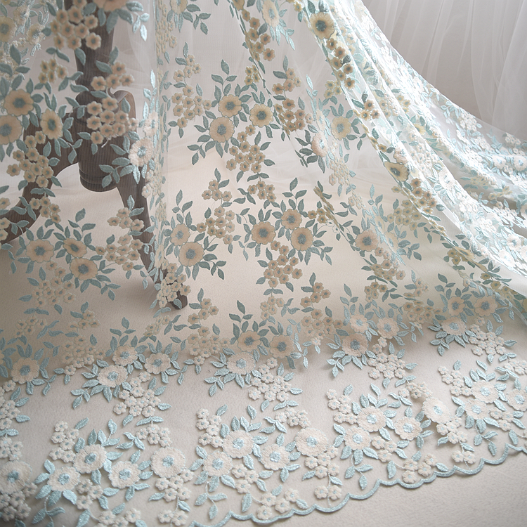 Ice Green Off White Embroidered Lace Fabric With Gold