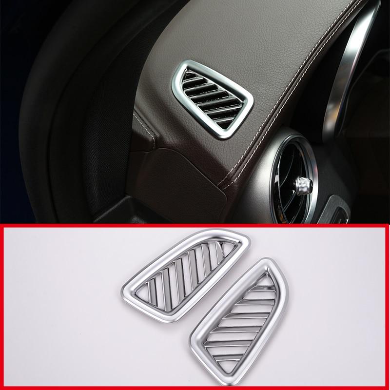 2 Stuks Auto Accessoires Abs Chrome Dashboard Outlet Vent Frame Trim Stickers Voor Mercedes Benz Glc 200 260 300 2015 2016 2017