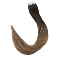 Полностью блестящие Человеческие волосы Remy для наращивания на клейкой ленте, цветные волосы с эффектом омбре, цвет #2, выцветание до #8, 20 шт., ...