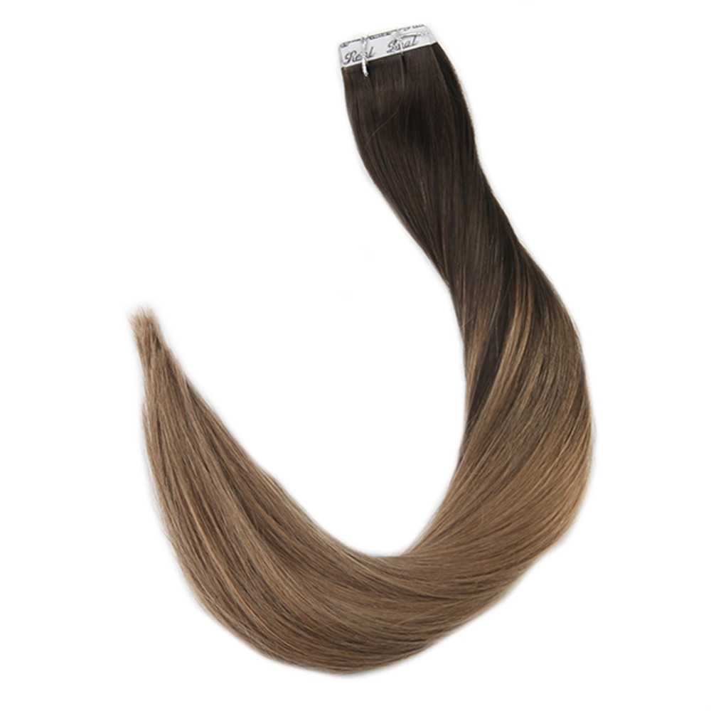 Full Shine Tape In Hair Remy Human Hair Extensions Colorful Tape In Hair Ombre Color #2 Fading To #8 20 Pcs 50 Gram Glue On Hair