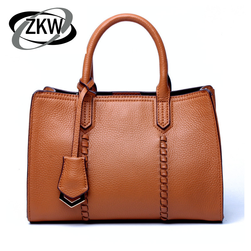 ZKW Promotion 100 First Layer Genuine Cow Leather Handbag Spring Women s Fashion Classic Real Leather