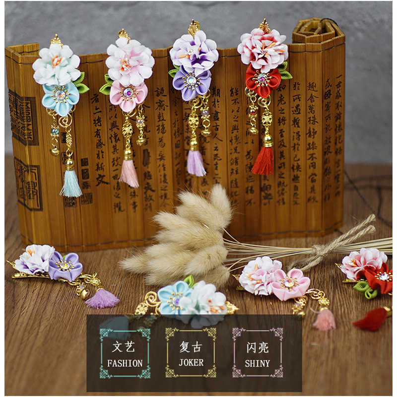 New Style Children's Jewelry Five-petal Fringed Flowers Tang Suit Hanfu cheongsam Hair Accessories Tassel hairpin Accessories