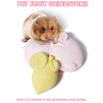 PAWZRoad New 1PC Pet Hamster Chew Mineral Stone Fruit Shaped Dog Rabbit Teeth Grinding Bite Stone Cage Small Animals Accessories