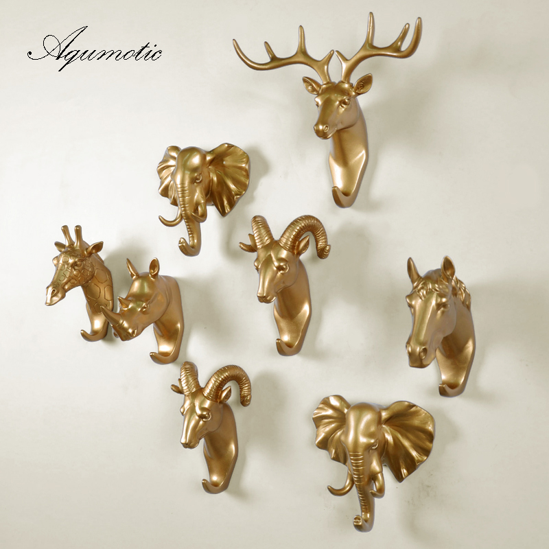 Aqumotic Resin Art Hook Up Clothes Hooks 1pc Gold Animal Sika Deer Head Hook Elephant Rhinoceros Sheep Horse Decor Hook Tool