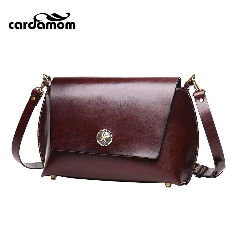 Cardamom 2017 spring and summer new leather handbags casual fashion plant vintage lady retro shoulder Messenger Bag