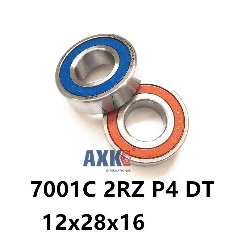 купить 1 Pair AXK 7001 7001C 2RZ P4 DT 12x28x8 12x28x16 Sealed Angular Contact Bearings Speed Spindle Bearings CNC ABEC-7 по цене 2019.53 рублей