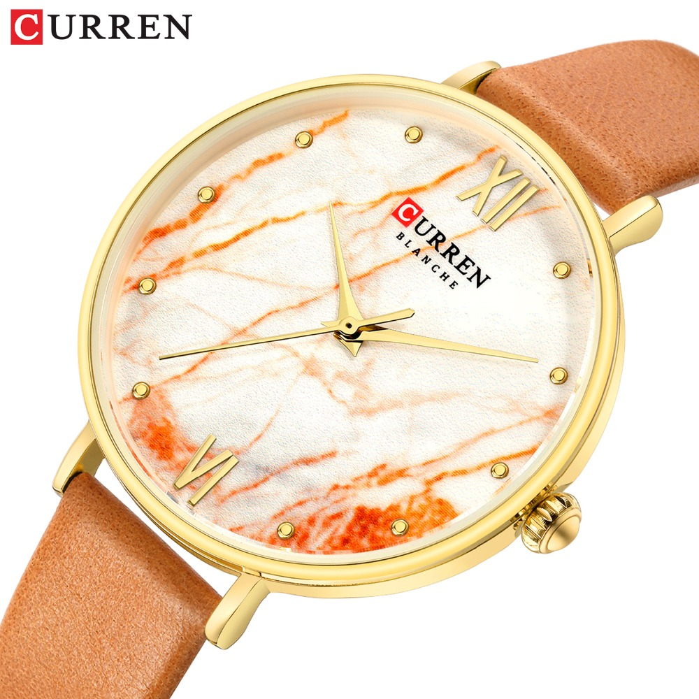 CURREN Creative Colorful Watches For Women Casual Analogue Quartz Leather Wristwatch Ladies Style Watch Bayan Kol Saati 2019
