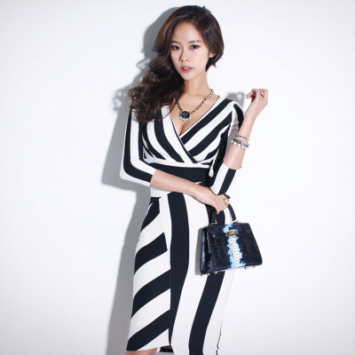 Elegant Striped Work Office Wear <font><b>Dresses</b></font> <font><b>2018</b></font> New Fashion Spring Summer <font><b>Sexy</b></font> Slim <font><b>Bodycon</b></font> Pencil <font><b>Dress</b></font> Robe For Women image