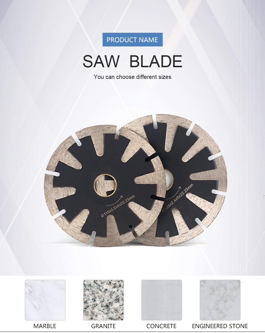 Hot sintered concave cutting grinding blade for granite, marble, engineered stone and concrete - 115mm/125mm