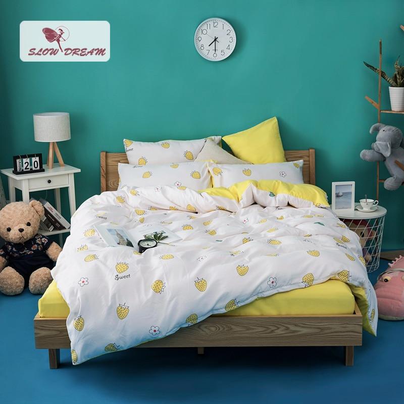 SlowDream Yellow Bedding Set Strwberry Bedspread INS Style