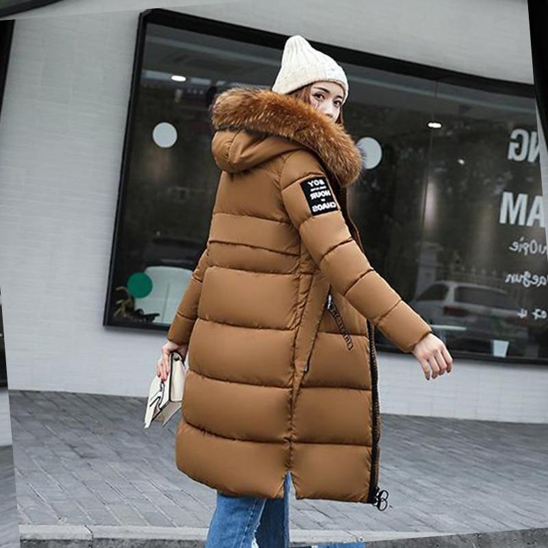 new Big fur winter coat thickened parka women slim long down cotton Plus Size S-3XL jacket