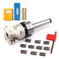 Mt2 m10 & 50mm face end fresa cnc cortador + 10 pçs apmt1604 carboneto de inserção para ferramenta elétrica
