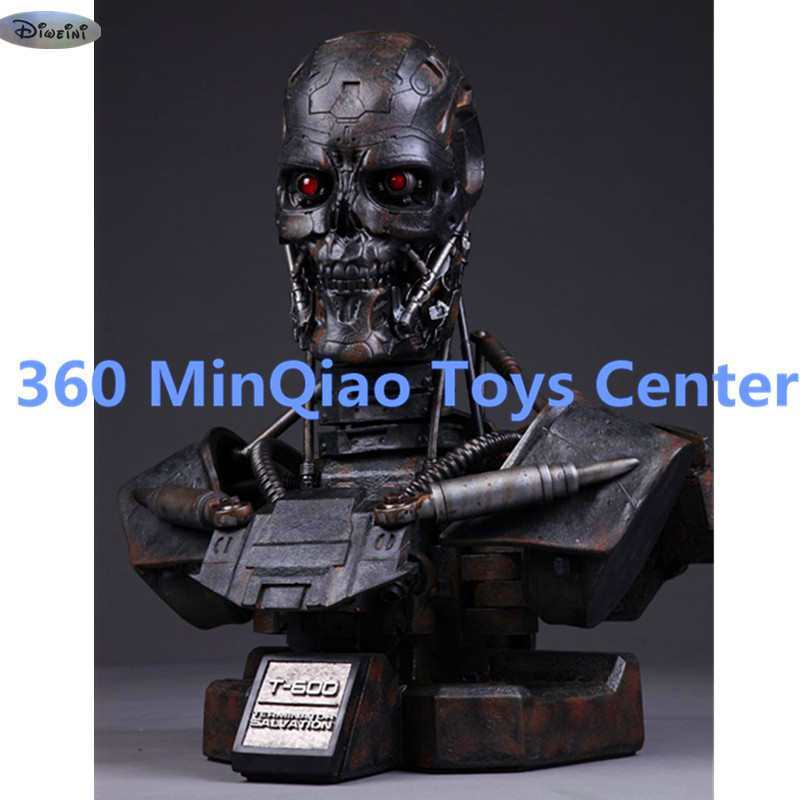 Terminator Statue T600 Bust 1:1 Half-Length Photo Or Portrait Schwarzenegger skull Action Figure Collectible Model Toy WU868 statue avengers captain america 3 civil war iron man tony stark 1 2 bust mk33 half length photo or portrait with led light w216