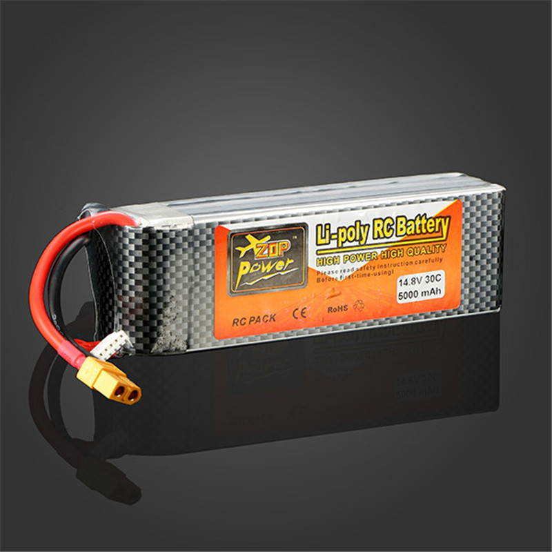 ФОТО High Quality ZOP Power 4S 14.8V 5000MAH 30C Battery XT60 Plug RC Rechargeable Battery For RC Helicopter Part