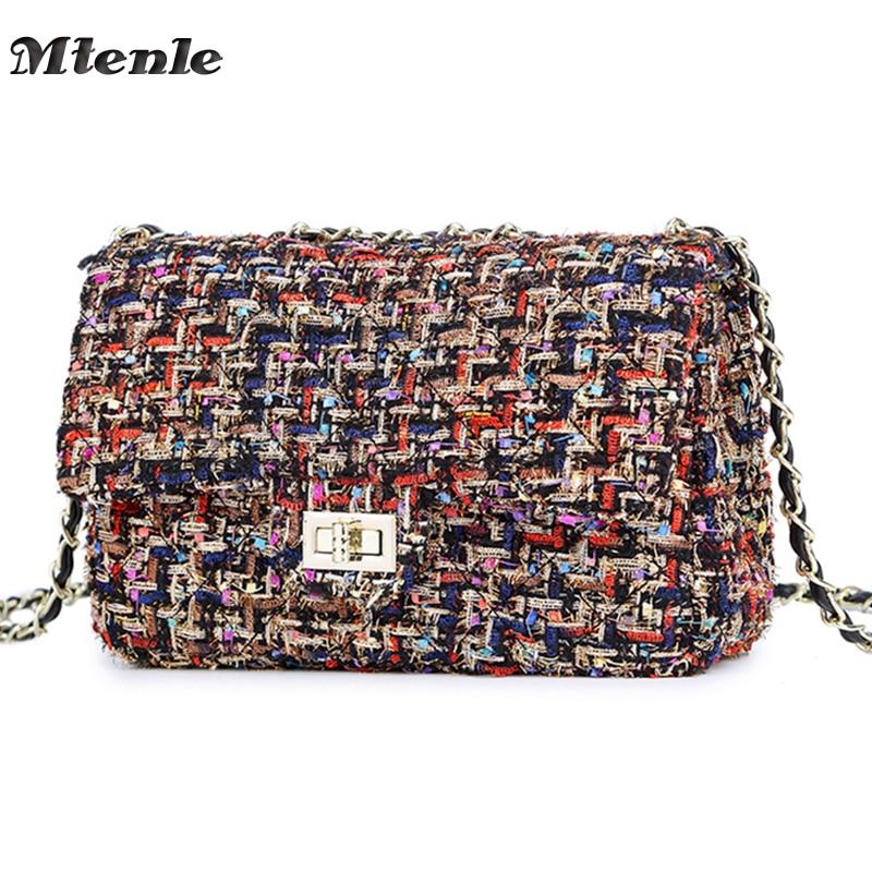 MTENLE Lattice Wool Women Crossbody Bag Luxury Handbags Designer Brand Ladies Bags Retro Shoulder Messenger Bags Female Chain F