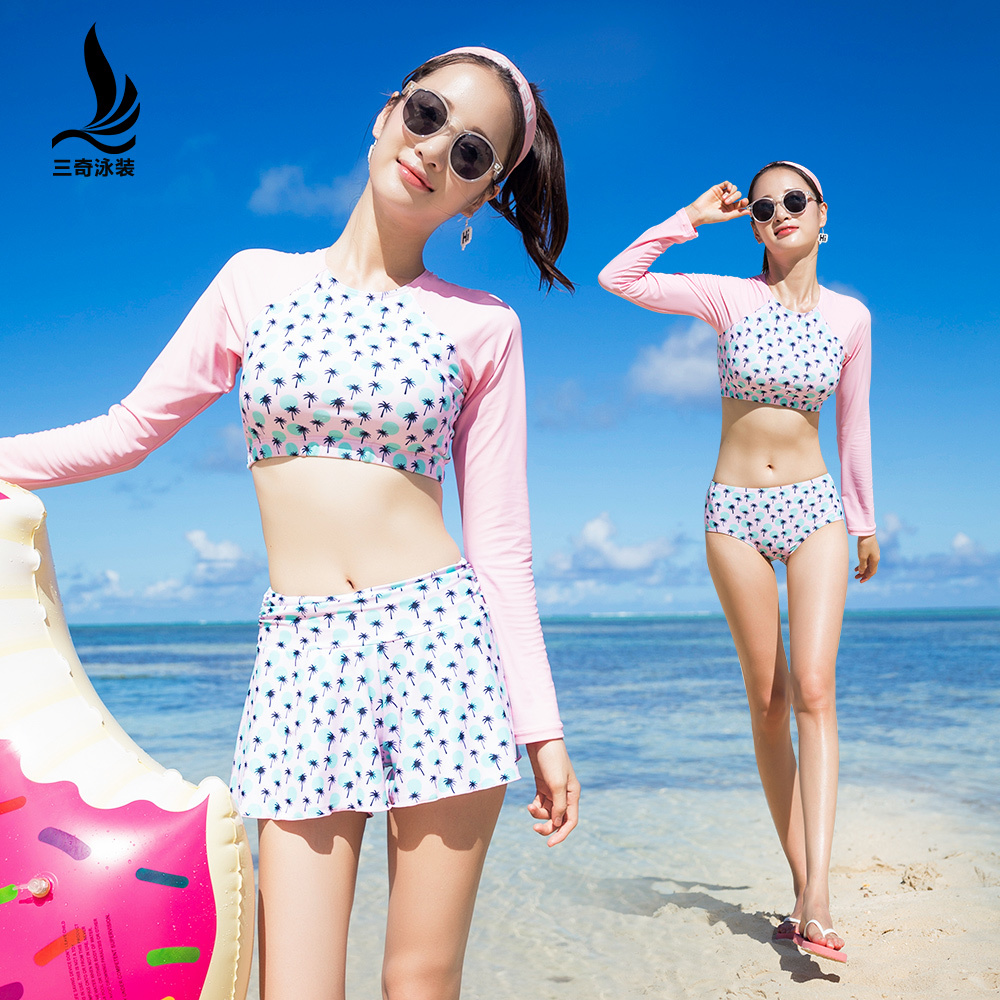 Korean Long Sleeve Thin Sunscreen Diving bikini Suit Style Swimwear Straight Angle Three-piece Swimming Dress Bring chest pad 2018 direct selling springs swimming clothes bikini three pieces of small breasts the steel sexy shading thin korean swimsuit