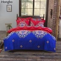 Hongbo Estilo Bohemian Floral Impressão Gêmeo/Rainha/Rei jogo do Fundamento 4 pcs Cama Set Capa de Edredão Mandala Boho Lençol de linho