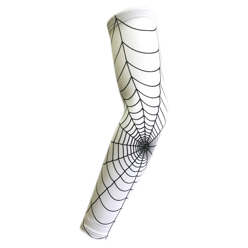 Spider Web Basketball Slip-resistant Lengthen Arm Guards Sunscreen Sports Protective Sleeve Forearm Elbow Pad color: White M Sports & Entertainment