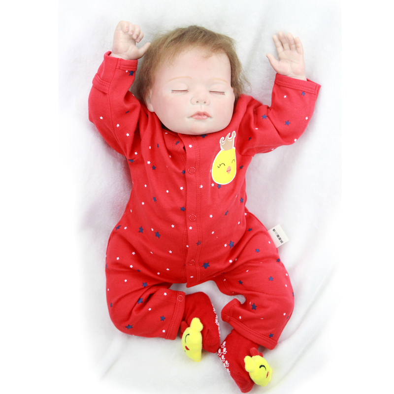 20'' 50 cm Silicone Vinyl Reborn Baby Dolls Alive Sleeping Princess Soft Skin Newborn Baby Doll for Girl Birthday Gifts and Toys handmade new model soft vinyl silicone reborn toddler princess girl baby alive doll toys with strap denim skirts birthday gifts