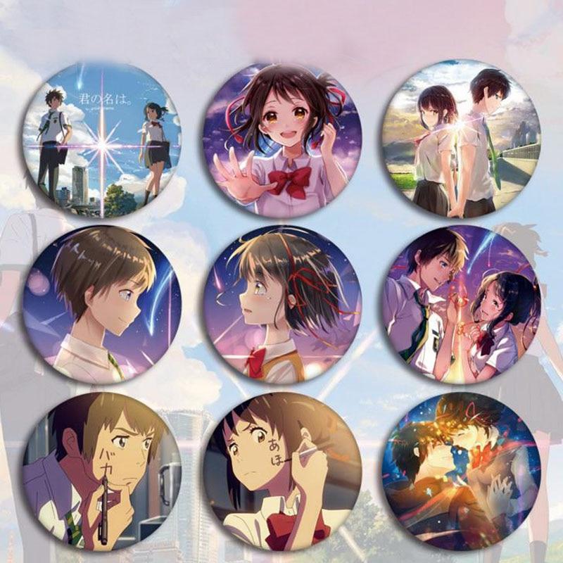 5 Pcs Kawaii Anime Your Name Cosplay Badge Brooch Pin Miyamizu Mitsuha Cute Collection Badge For Backpack Clothes Toys