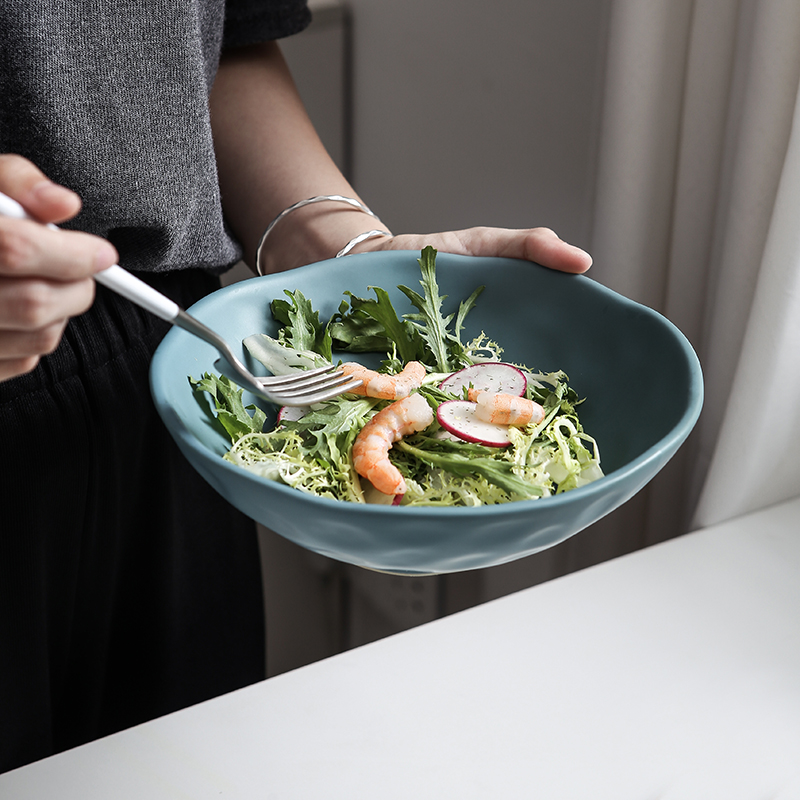 RUX WORKSHOP 6 color options European simple solid color round bowl salad vegetable ceramic soup bowl dinner tableware in Bowls from Home Garden