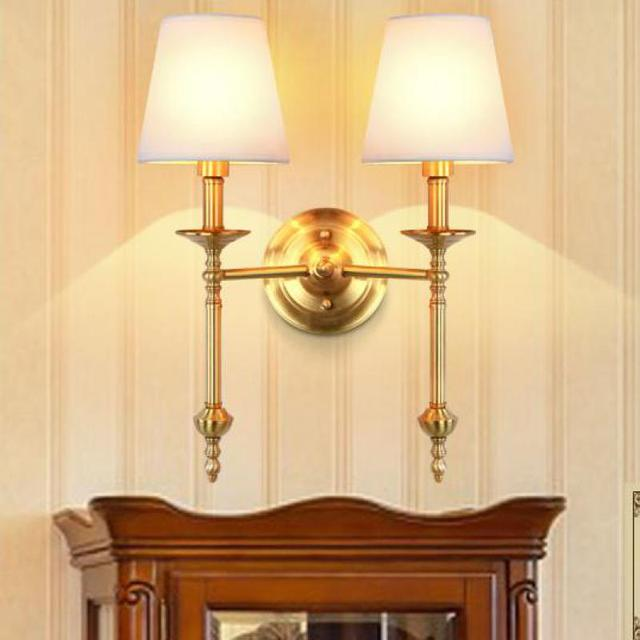 Star Hotel Gold led Wall Sconce Fixtures fabric shade Retro Copper Wall light For palor E14 dressin Room mirror Light Arandela