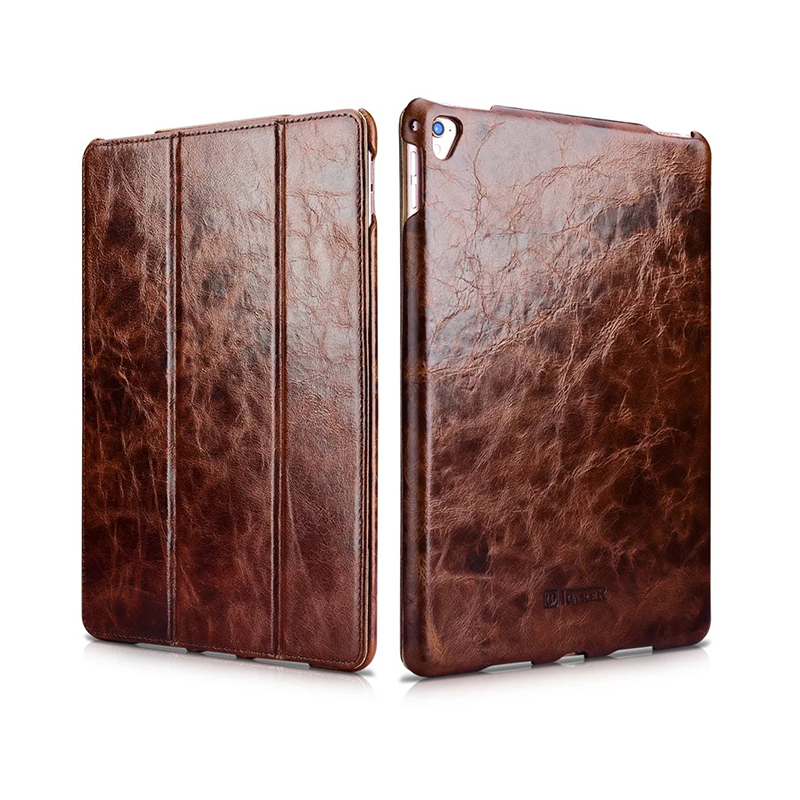icarer smart cover For iPad Pro 9.7 Genuine Leather Cases For Apple iPad Pro 9.7 Luxury magnet case Protective stand Shell Skin official original 1 1 case cover for apple ipad pro 12 9 2017 cases tpu smart clear cover for ipad pro ipad plus 12 9 2015 case