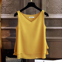 Fashion Brand Women's blouse Summer sleeveless Chiffon shirt Solid  V-neck Casual blouse Plus Size 4XL Loose Female Top