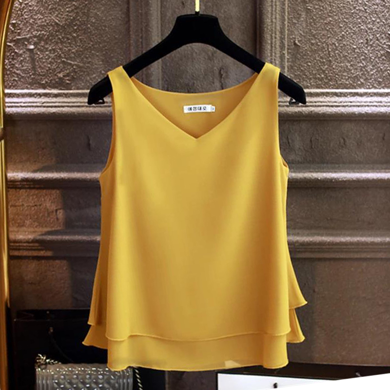 2020 Fashion Brand Women's Blouse Summer Sleeveless Chiffon Shirt Solid  V-neck Casual Blouse Plus Size 5XL Loose Female Top