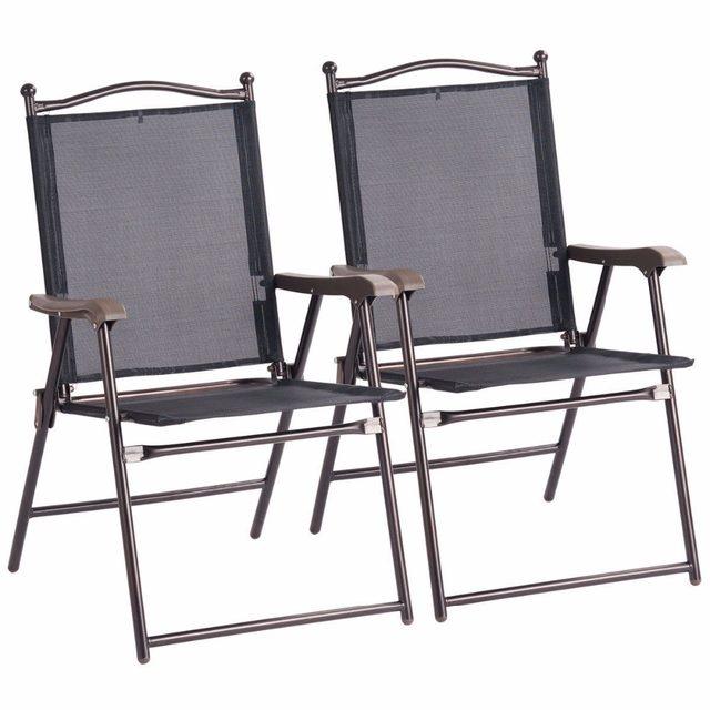 f3a765b1e40 Giantex Set of 2 Patio Folding Sling Back Chairs Camping Deck Garden Beach  Outdoor Furniture OP3568