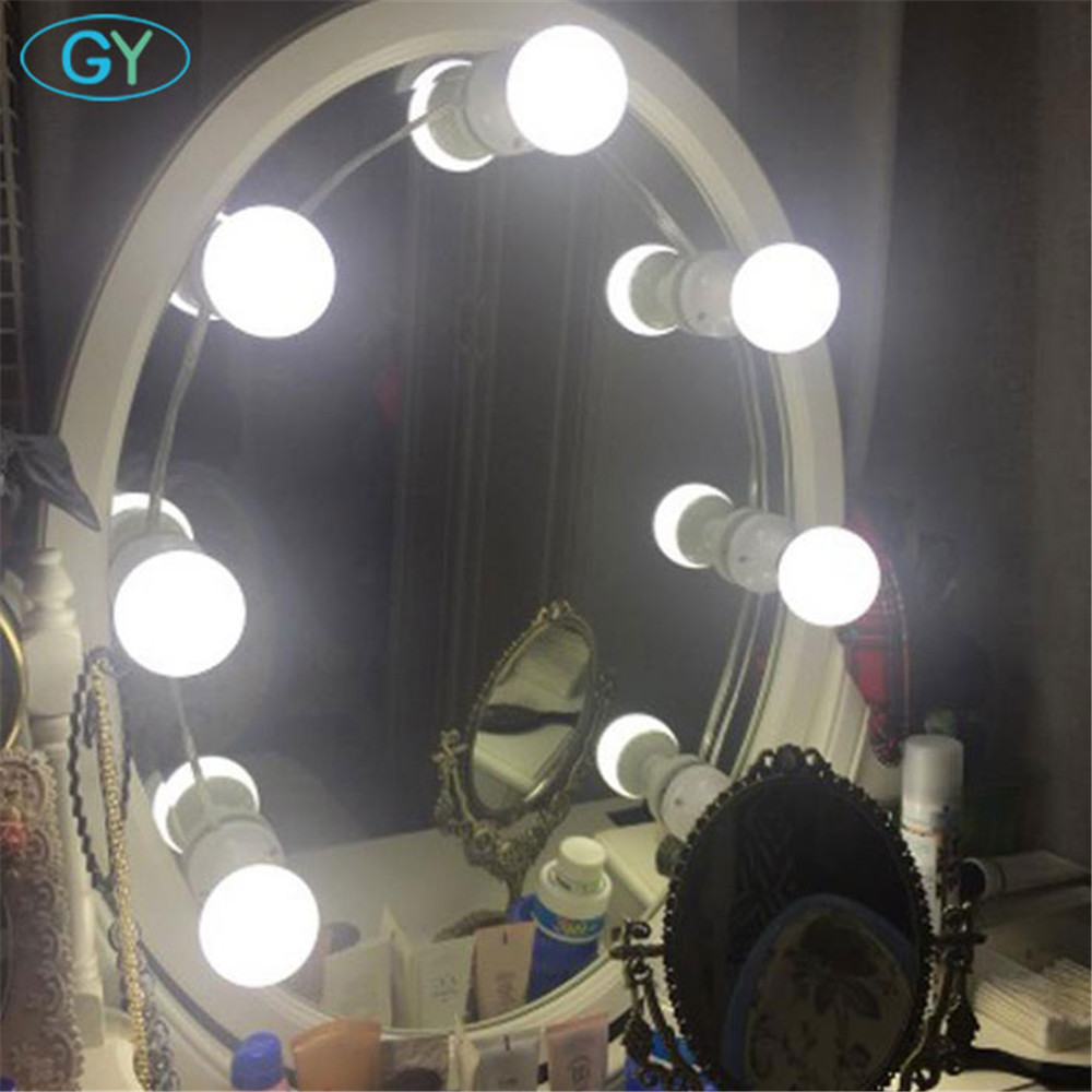 Hollywood Style E27 Vanity lights wall mounted plug in bathroom mirror front lamp LED studio dressing room strip wall lighting