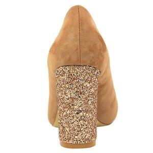 Image 5 - Salto feminino, salto alto com 8cm, calçado de bloco, sexy, robusto, com cachecol, elegante, amarelo, festa, casamento, 2020 sapatos com calçados