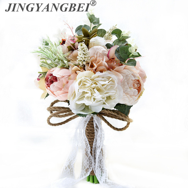 2018 Artificial Silk peony Hybrid Wedding Hand Bouquets For Brides ...