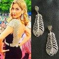 Silver plating rhinestones leaf charm pendant drop earrings pendientes vintage mujer les nereides earrings wholesale earring new