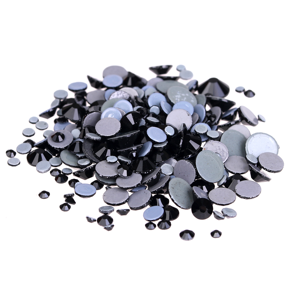 Jet Hotfix Crystal Rhinestones For Nails Art ss6-ss30 And Mixed Sizes Glue Backing Iron On Glass Diamonds DIY Garments Supplies
