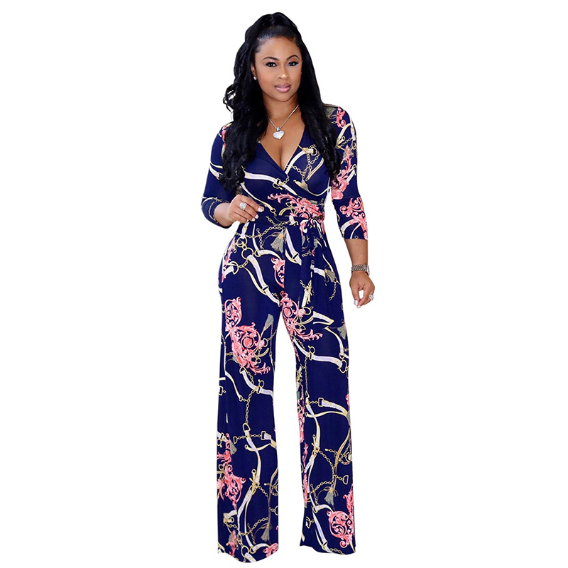 Elegant Women Sexy V-neck Jumpsuit Long Sleeve Floral Printed Loose Wide Leg 2019 Summer Ladies Casual Jumpsuits Plus Size