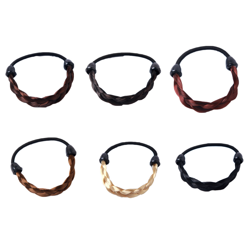 1Pc Giraffita Creative Wig Hair Circle Ponytail Hair Band Headwear Girls Fashion simple hair rope braids stretch hair band