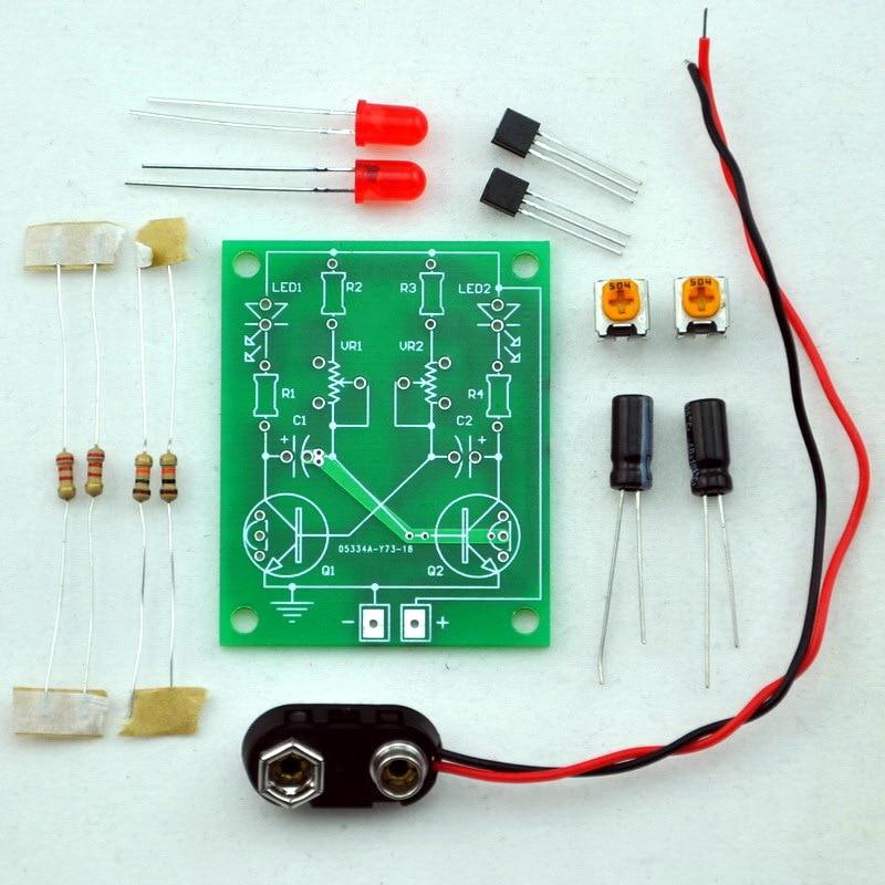 Adjustable Transistor Astable Multivibrator Circuit Learn Kit, LED Flashing.