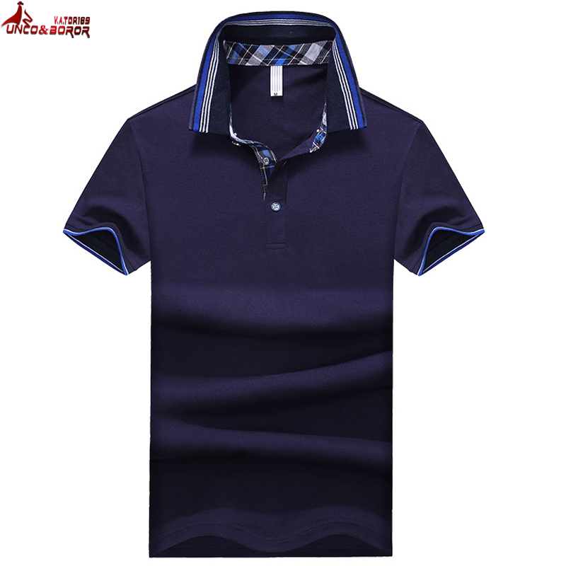 UNCO&BOROR new Brands Mens soild color   POLO   Shirts Brand Short Sleeve breathable Camisas   Polo   Male Shirt plus size 3XL,4XL,5XL