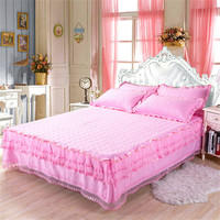 150*200cm Bed Skirt Laces Bed Cover Sheets Bed Quilted Lace Bedspread Lace BedSheet Support Drop Shipping