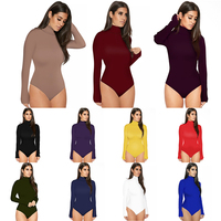 Bodysuit Women Sexy Jumpsuit Plain Color Lady Long Sleeve Jumpsuit Bodysuit Romper New